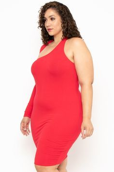 Photo of Plus Size One Sleeve Asymmetric Dress- Red
