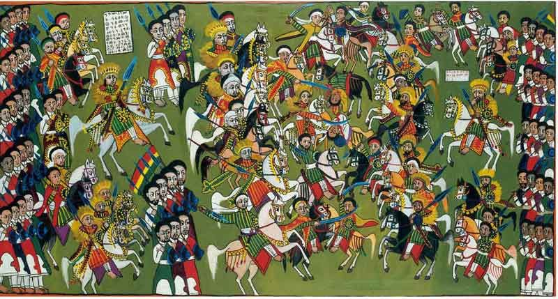 The battle of Lasta Canvas; 80 x 149 cm Painter: Wäldä Mika'el 1926 or 1927 Collector: Charles-Henri Steiner 1927–29 Ethnographic Museum of the University of Zurich. Invt. No. 16846 Photo: Kathrin Leuenberger and Silvia Luckner  In the battle of Lasta (12th century), Lalibäla defeated his brother King Harbe and became King himself. In this painting dress, status symbols and horse trappings are carefully represented. (Contemporary Ethiopian Painting in Traditional Style | Africans )