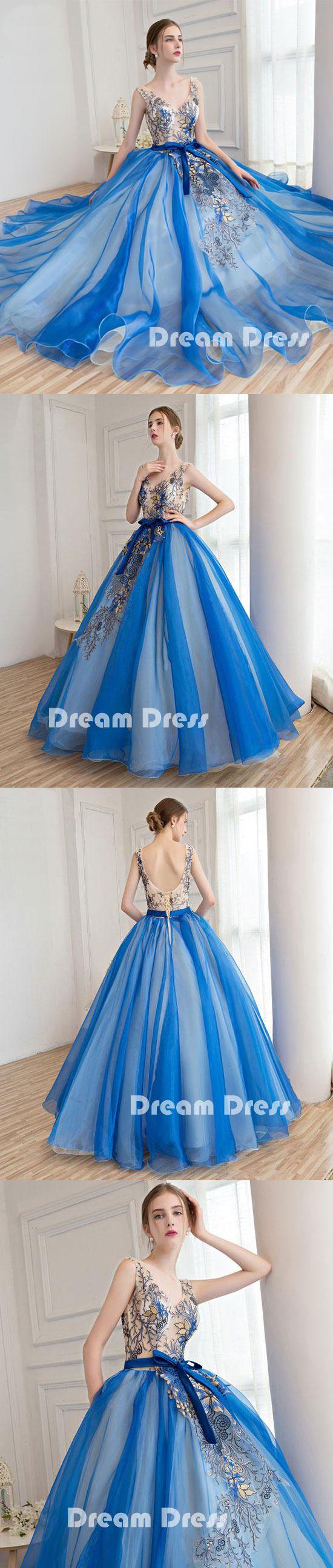 Royal blue tulle applique long prom dresses blue evening dresses