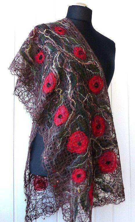 Brown Shawl With Red Poppies Handmade Shawl Crazy Wool Technique For Women Filzschal Modestil Stricken