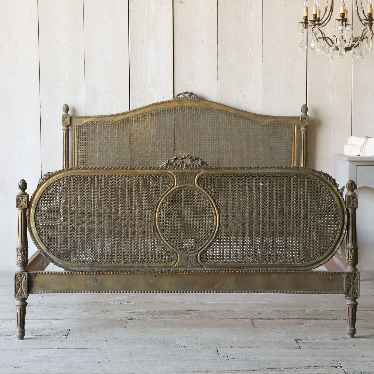 Eloquence One of a Kind Antique Full Bed Cane Louis XVI