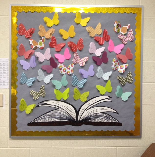 My bulletin board for 7th grade language arts classroom for Art book decoration ideas