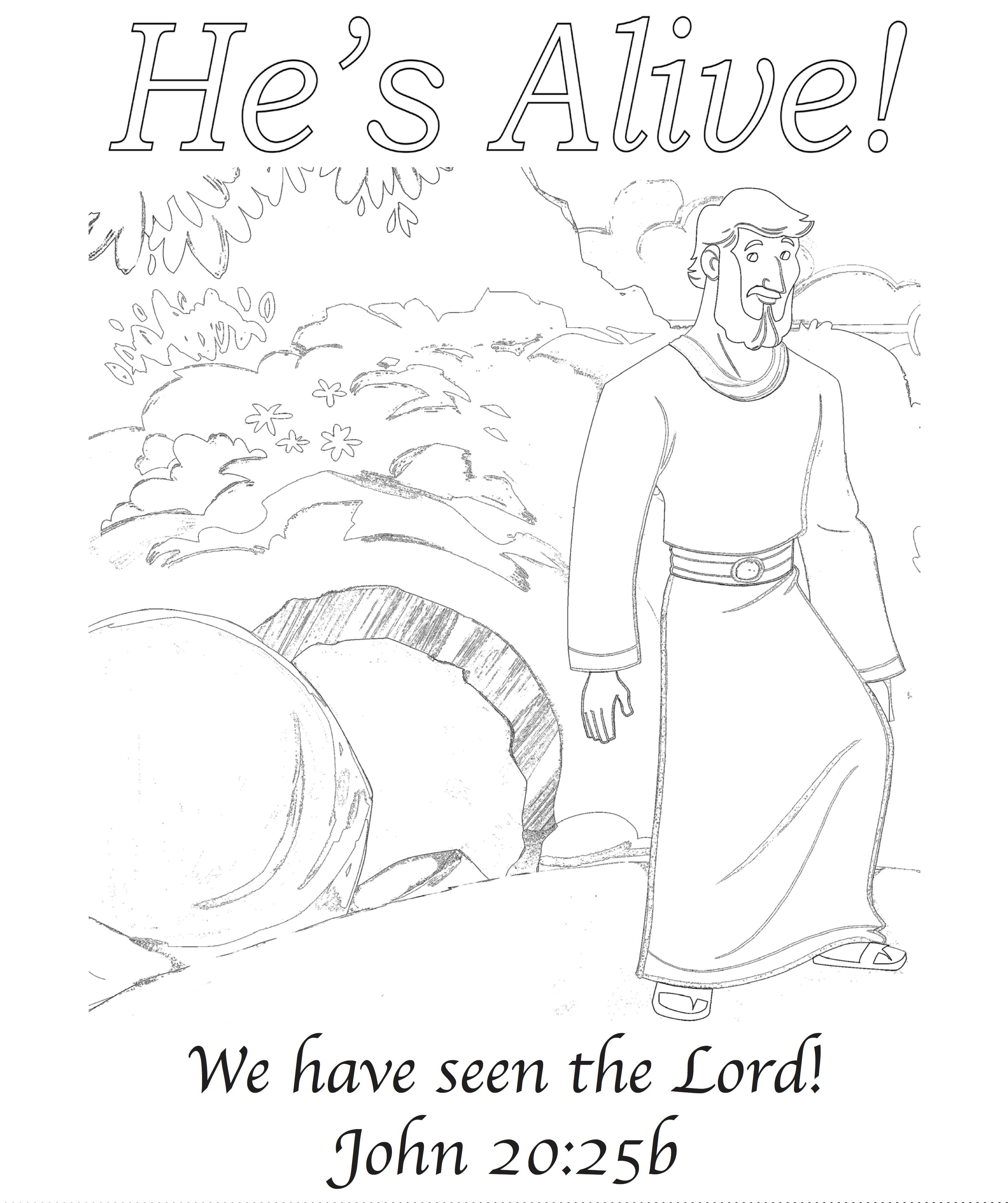 He's Alive! Easter Greeting Card on Sunday School Zone