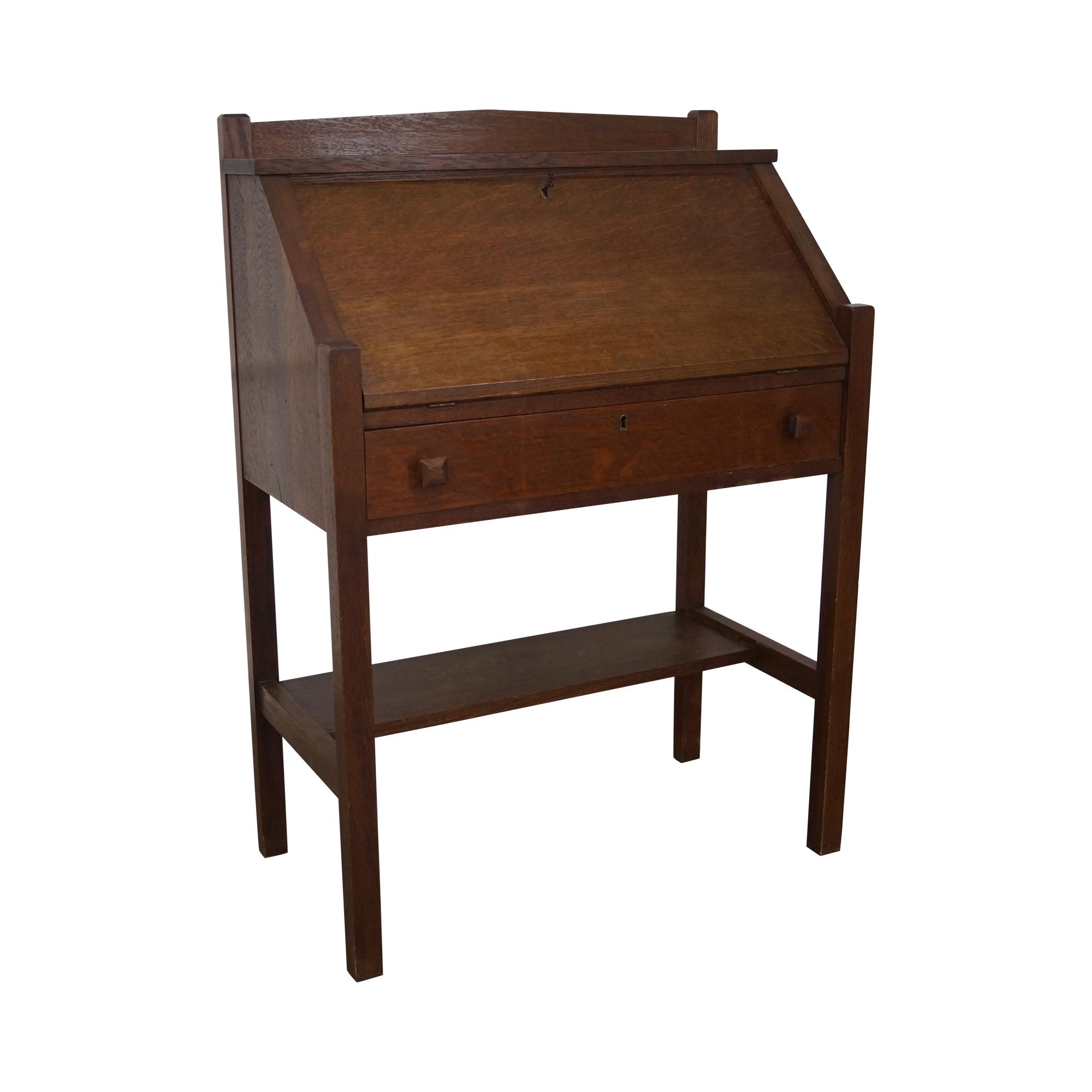 Antique Mission Oak Slant Front Writing Desk By Cron Kills Age Country Of Writing Desk Mission Oak Desk