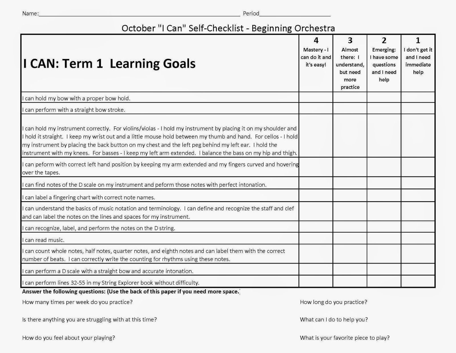 worksheet Band Worksheets orchestra classroom ideas beginning self assessment using i can statements