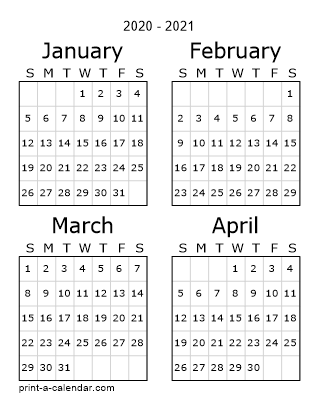 2020 Three Page Yearly Calendar Four Months Per Page Calendar Printables Calendar March Print Calendar