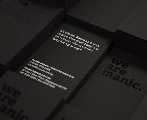 Business Cards Hotstamped And Silkscreened On A Matte Black