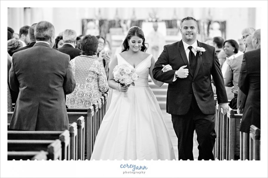 wedding recessional after wedding ceremony at st