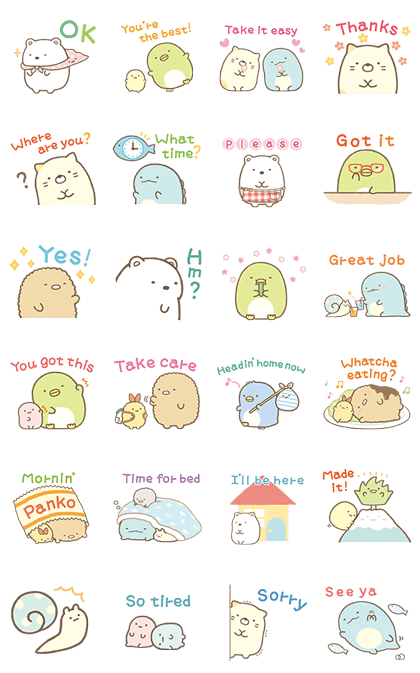 Sumikko Gurashi Family Stickers Sticker For Line Whatsapp Android Iphone Ios Cartoon Stickers Cute Stickers Digital Sticker