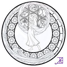 Disney Tangled Rapunzel Stained Glass line art by Akili