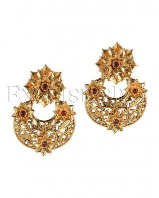 #Exclusivelyin, #IndianEthnicWear, #IndianWear, #Fashion, Maroon Stone Poinsettia Earrings