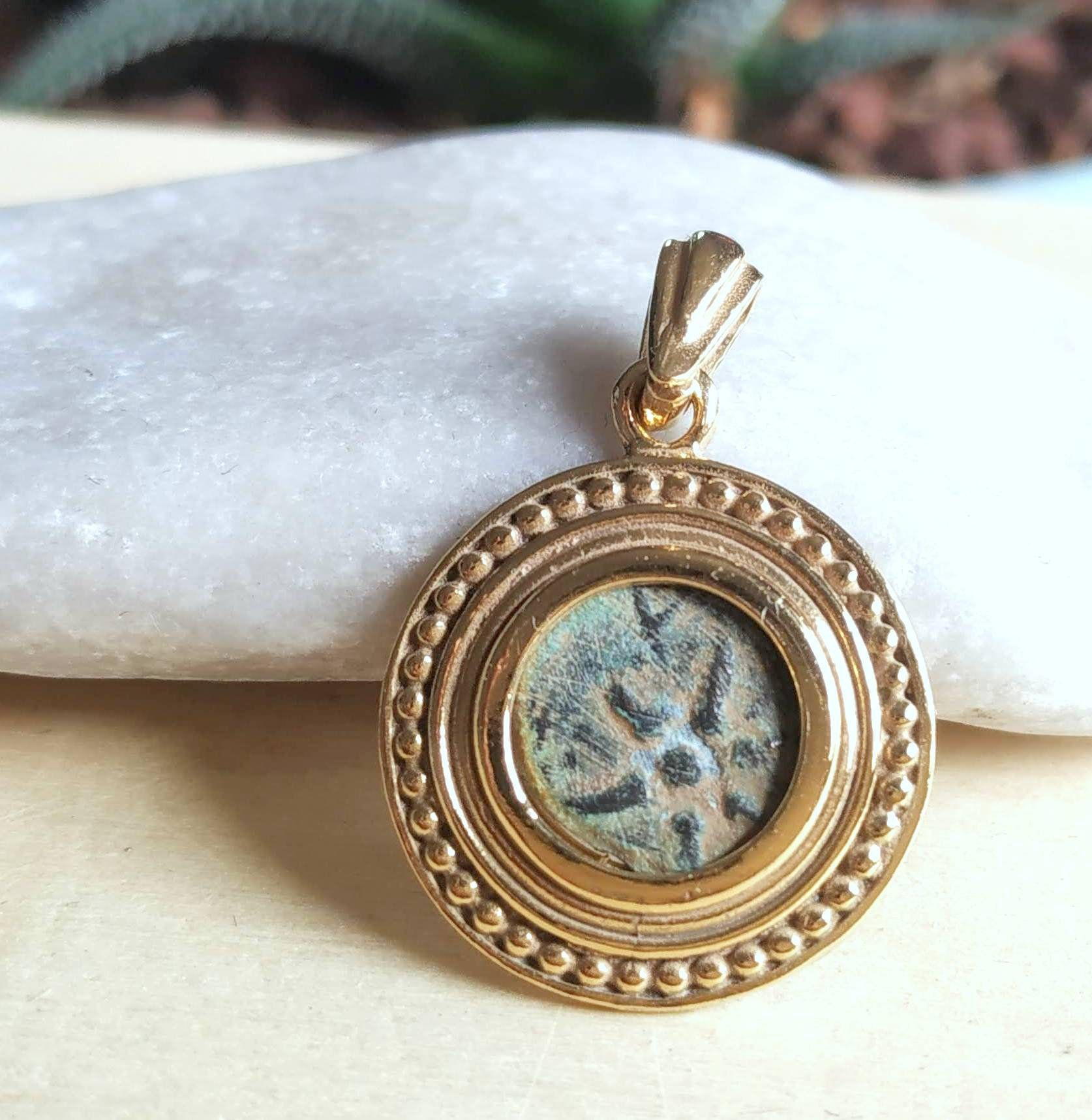Christian jewelry antique real widow mite coin gold plated