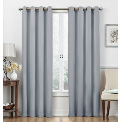 Winston Porter Frohna Solid Color Room Darkening Thermal Grommet Panel Pair Curtain Colour Light Blue Grommet Curtains Panel Curtains Curtains