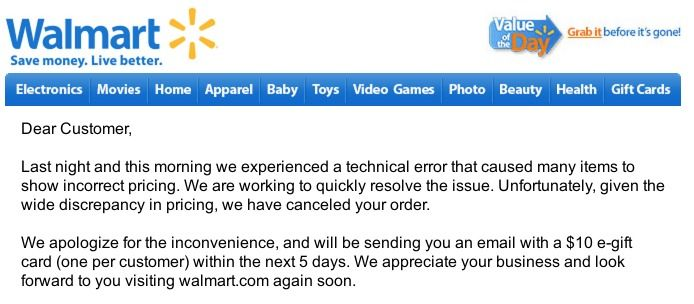 Walmart UPDATE to Crazy Deals u003d FREE $10 Gift Card and NO HACK - business apology letter template