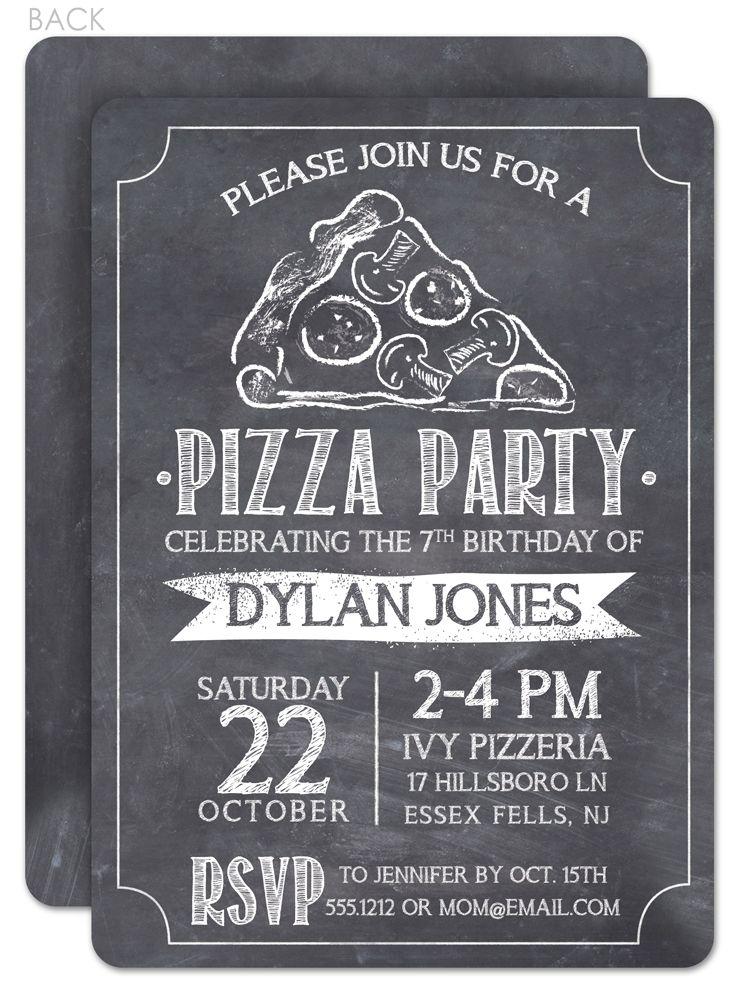 chalkboard pizza party birthday invitation  printed