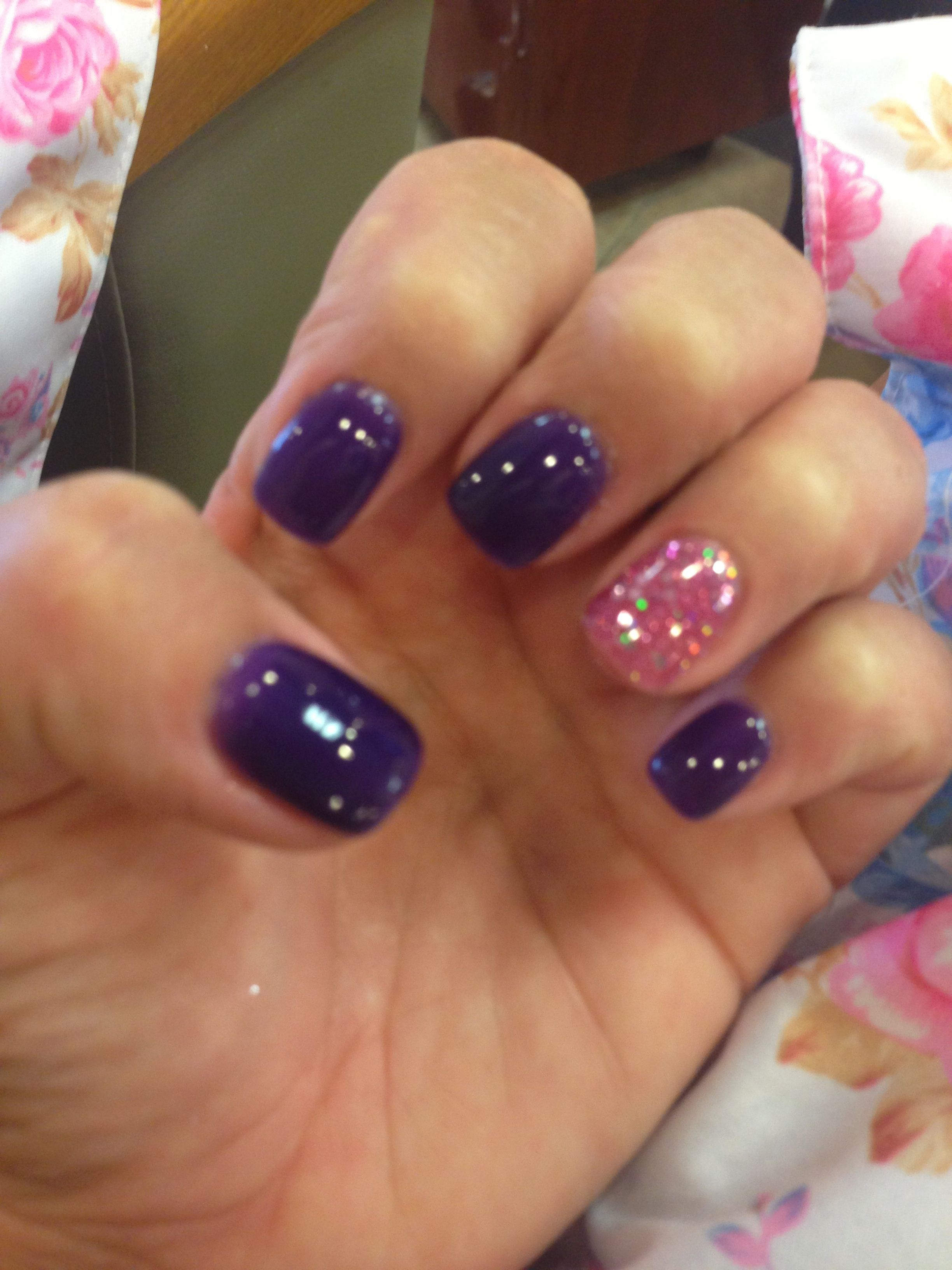 Deep purple gel nails with pink glitter accent ! | nails | Pinterest ...