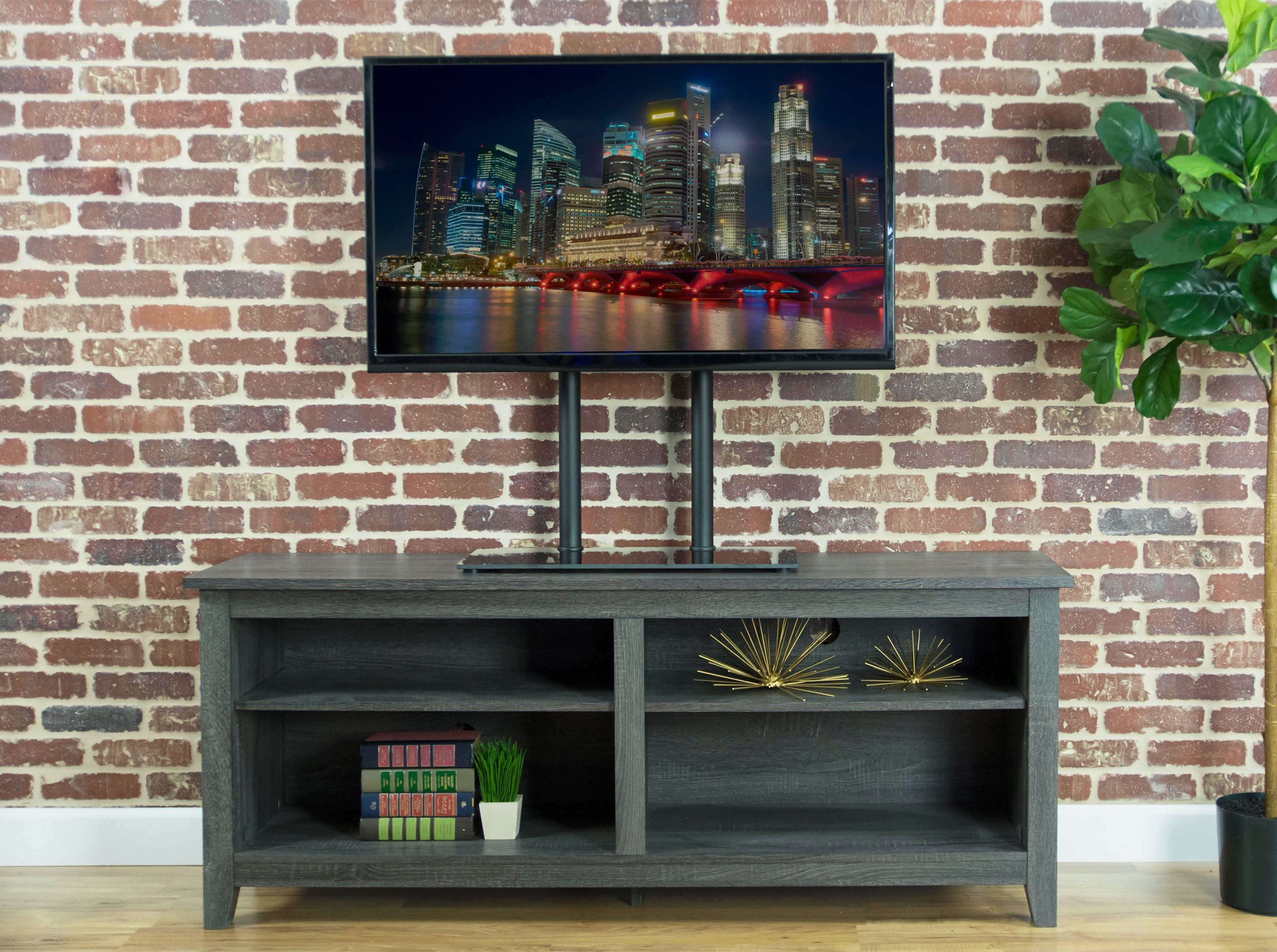 Universal Economic Lcd Flat Screen Tv Table Top Stand W Glass Base