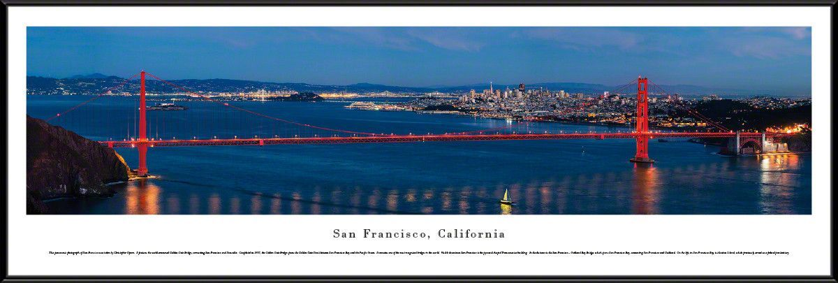 San Francisco, California City Skyline Panoramic Picture Framed ...