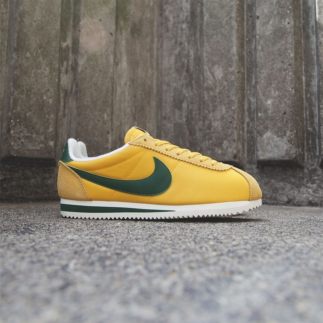 newest collection 8a14b db7e8 Nike Cortez Nylon Premium  Yellow Ochre Classic Green