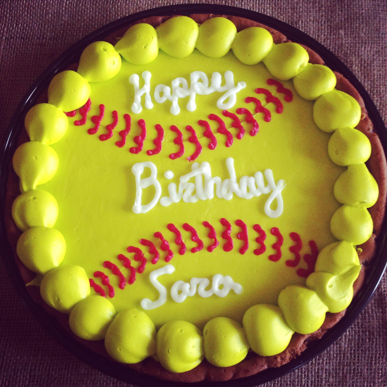 Awesome Birthday Cookie Cake For Saras Softball Birthday Party Met Personalised Birthday Cards Paralily Jamesorg