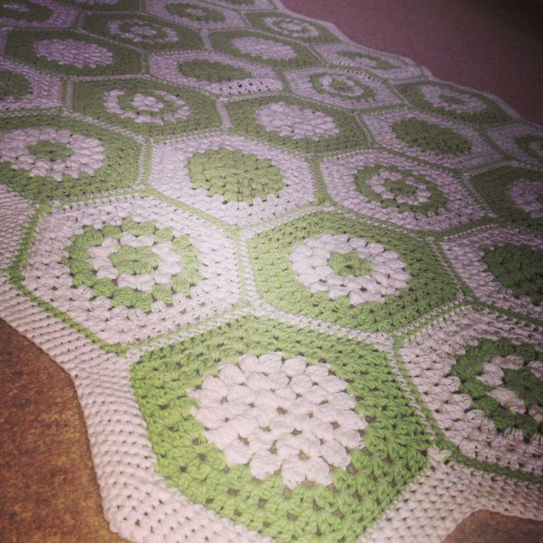100% cotton hexagon crocheted baby blanket #madebydora
