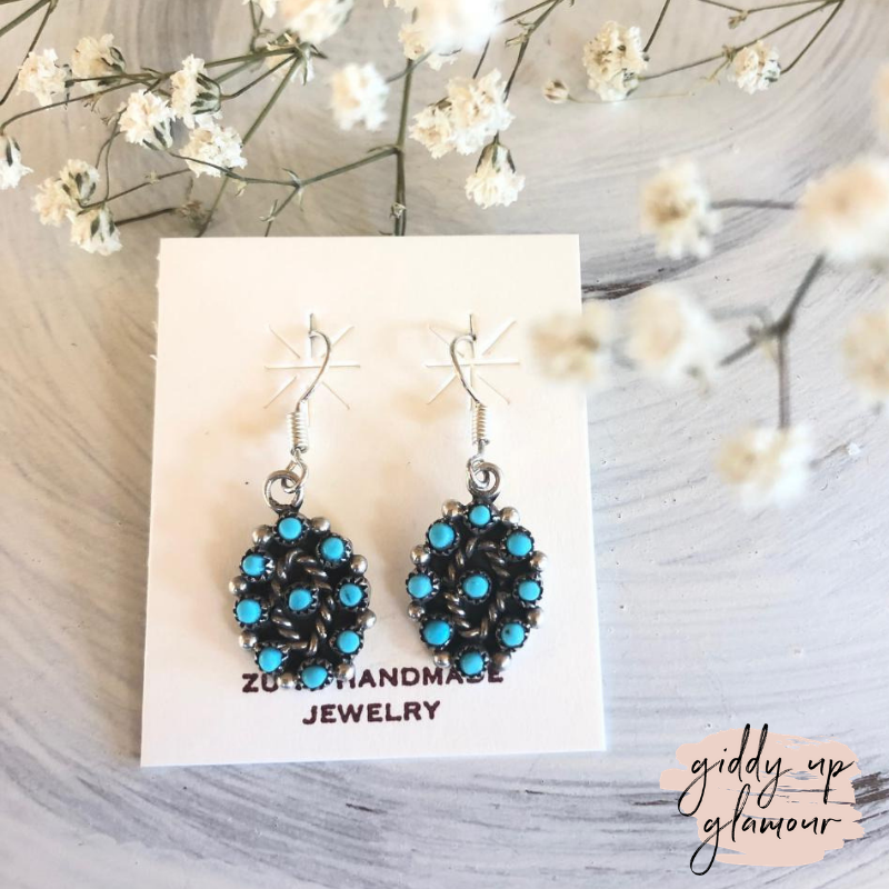 f61c7099f Zuni | Genuine Navajo Sterling Silver and Turquoise Petit Point Cluster  Dangle Earrings