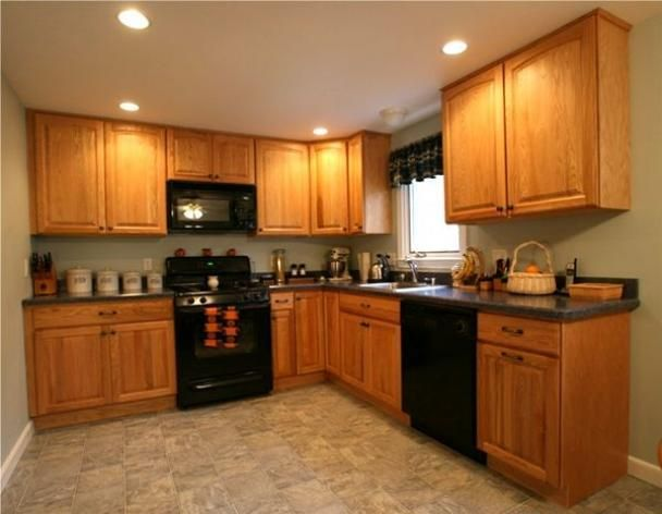 kitchen colors that go with golden oak cabinets , Google