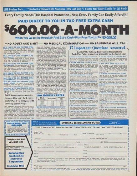 1971 Ben Franklin Life Insurance Vintage Ad 600 00 A Month