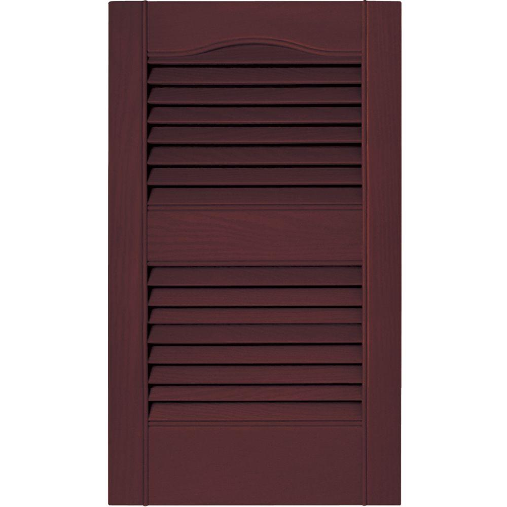 Builders Edge 15 In X 25 In Louvered Vinyl Exterior Shutters Pair In 001 White 010140025001 The Home Depot Vinyl Shutters Louvered Shutters Shutters Exterior
