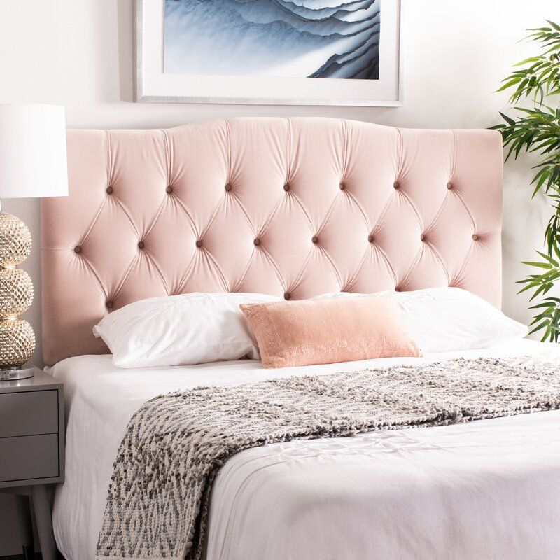 Ellecourt Upholstered Panel Headboard In 2020 Pink Headboard