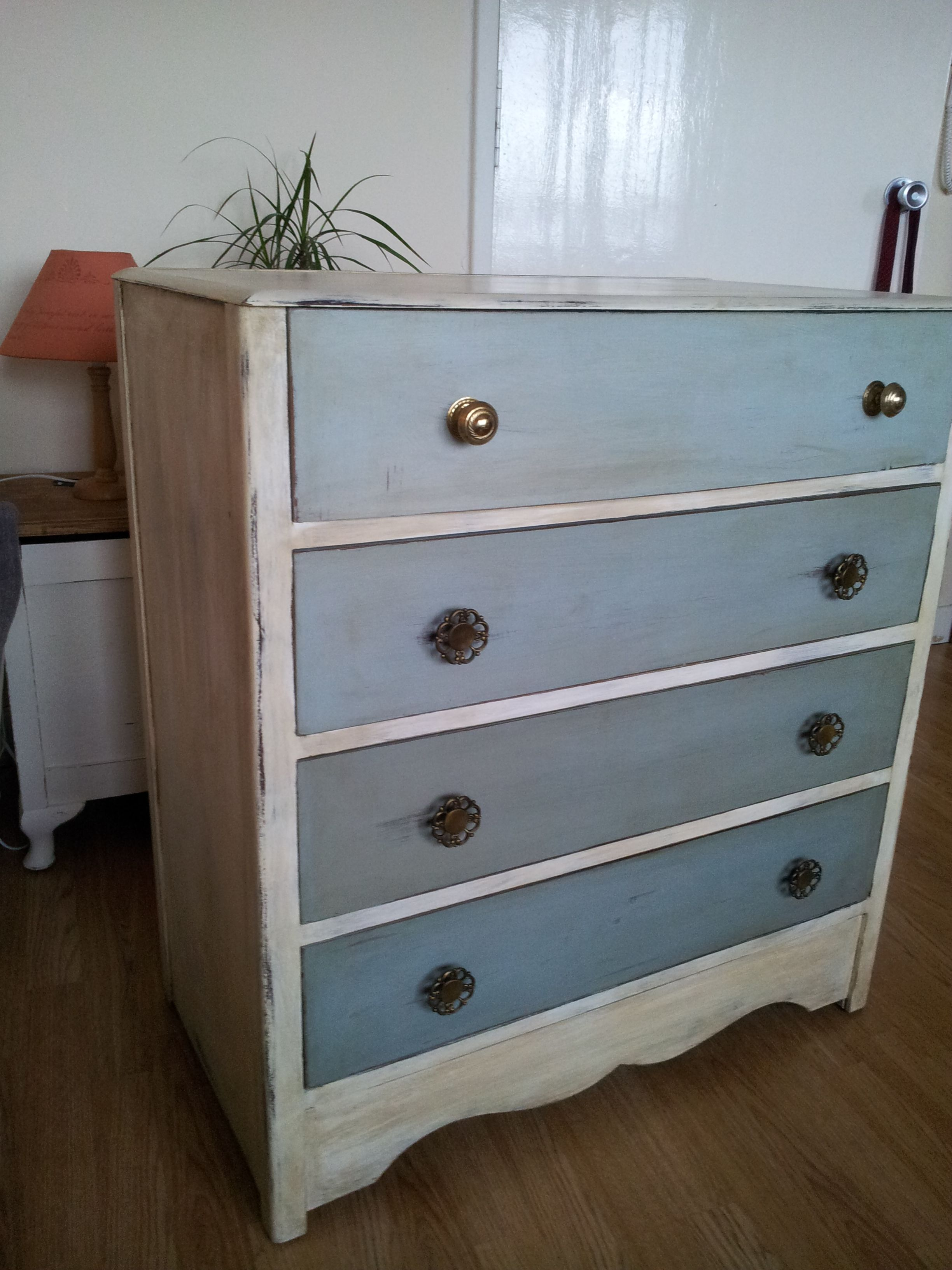 Vintage Shabby Chic Beautiful And Very Original Chest Of Drawers Duck Egg With