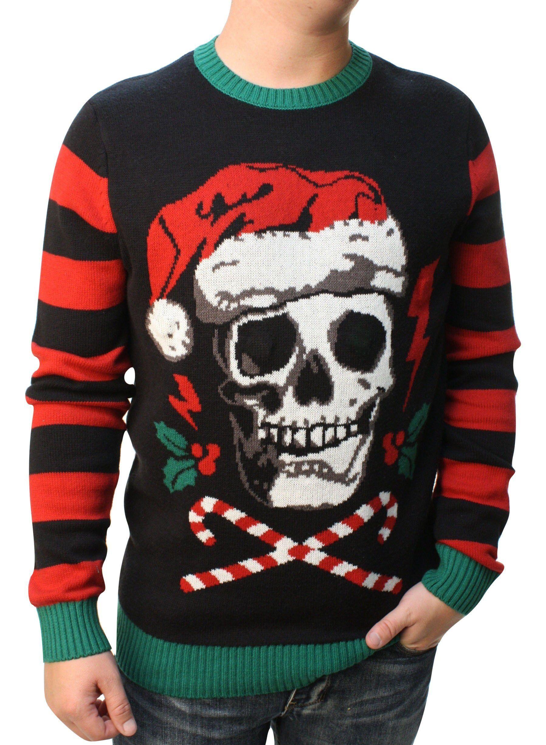 Ugly Christmas Sweater Men\'s Skull Santa Hat Light Up Pullover ...