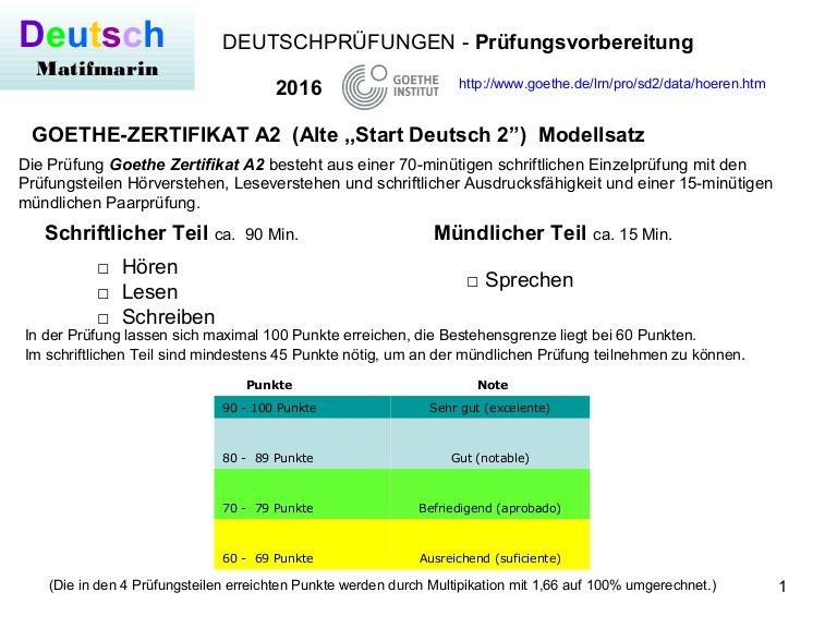 Prüfungsvorbereitung Goethe Zertifikat A2 Neu Von Start Deutsch 2