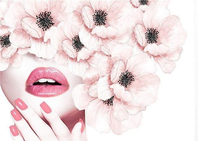 Scandinavian Wall Art Pink Flower Perfume Fashion Poster Eyelash Lip Makeup Print Canvas Painting Picture Modern Home Decoration – 50x70cm no frame / B