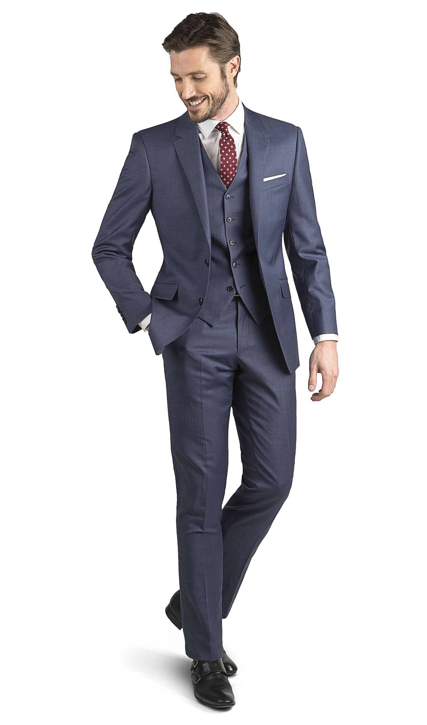 67d9452e791 Mills Blue Sharkskin 3 Piece Slim Fit Suit