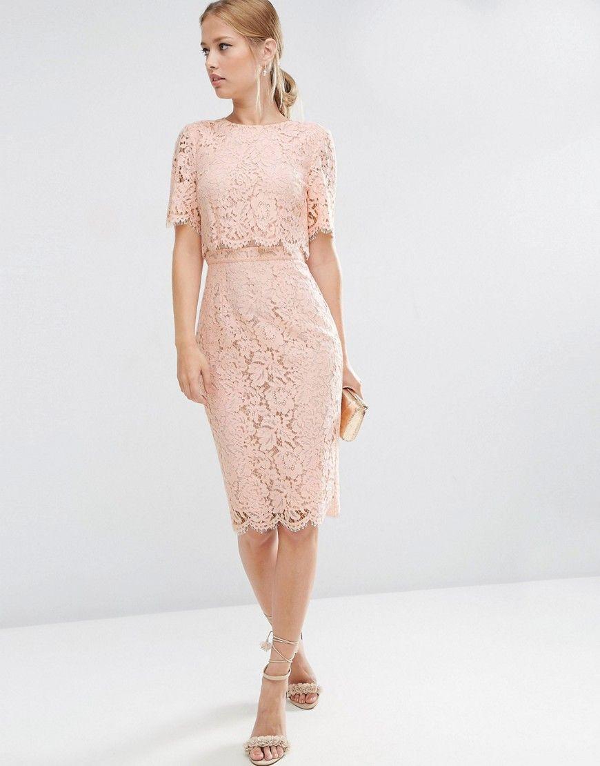 Lace dress pink  ASOS Lace Crop Top Midi Pencil Dress  Pink  Products  Pinterest