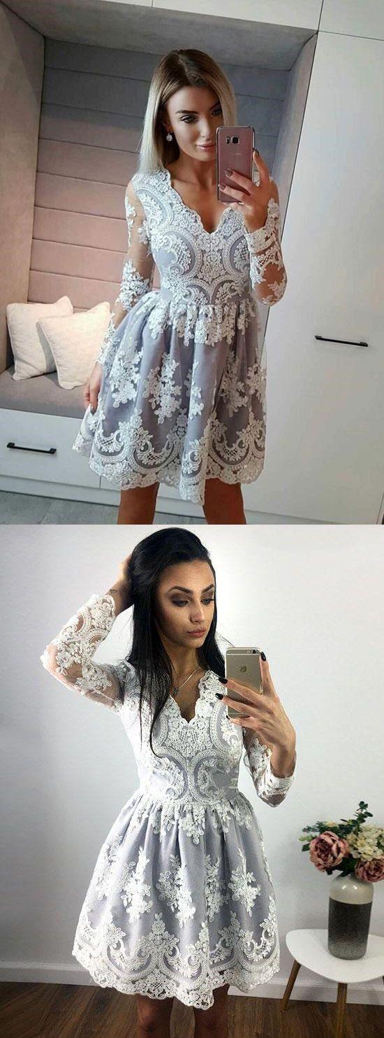 Long sleeve homecoming dresses vneck aline lace short prom dress