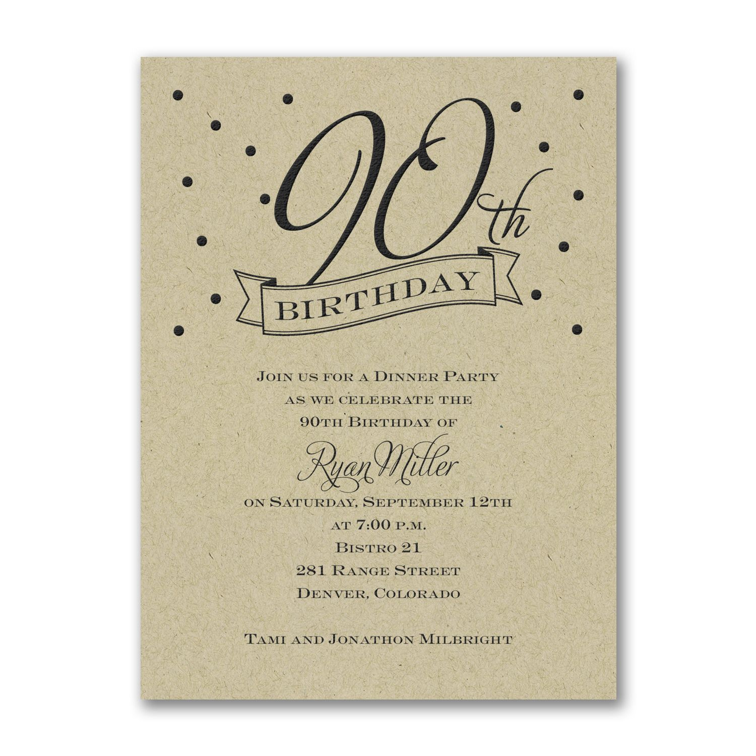 Confetti 90th Birthday Invitation choose paper color http