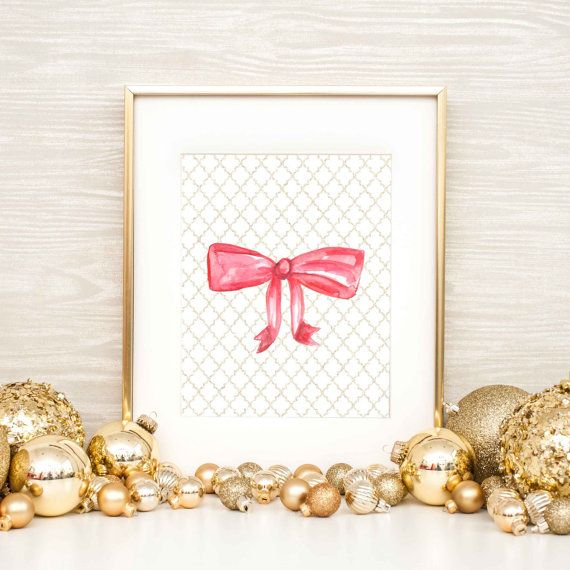 Holiday Print Bow Print Wall Decor Bow Wall Art by JettyPrintables ...