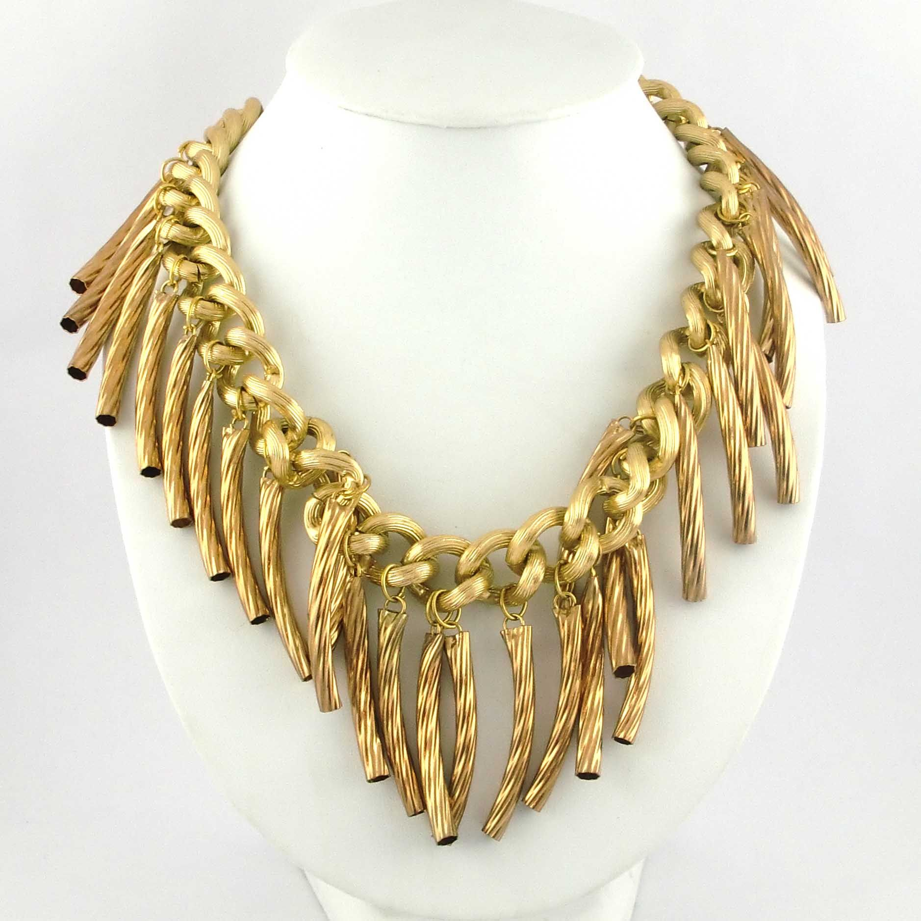 Spectacular gold tube chu necklace