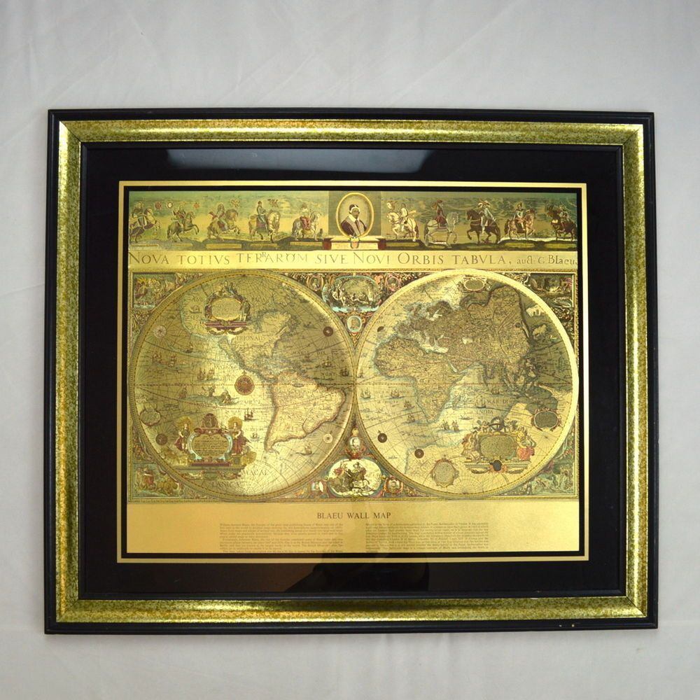 Blaeu wall map gold foil new old world framed nautical exploration blaeu wall map gold foil new old world framed nautical exploration vtg wall art ebay publicscrutiny Images