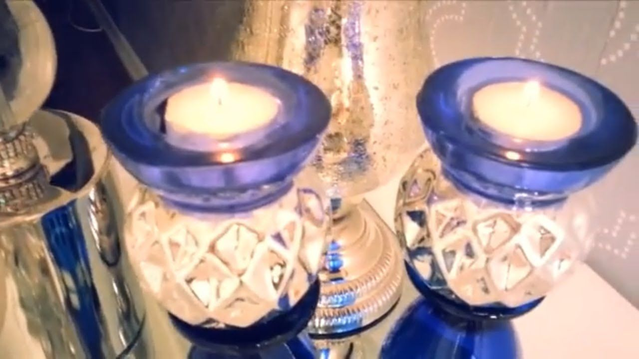 Stunning z gallerie inspired glam blue candle holders dollar tree