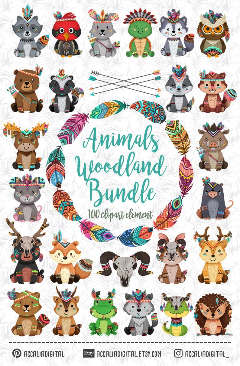 Tribal Woodland Animals Bundle Cute Sticker Woodland Friends