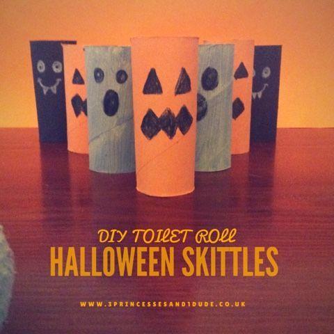 Activity Time DIY Halloween Skittles Halloween bowling Toilet - halloween activities ideas