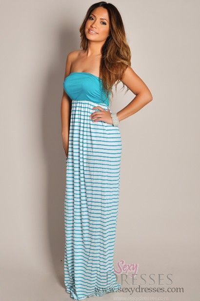 cb14f1b68a41 Cute White and Teal Stripes Strapless Maxi Dress | Fashion <3 | Cute ...
