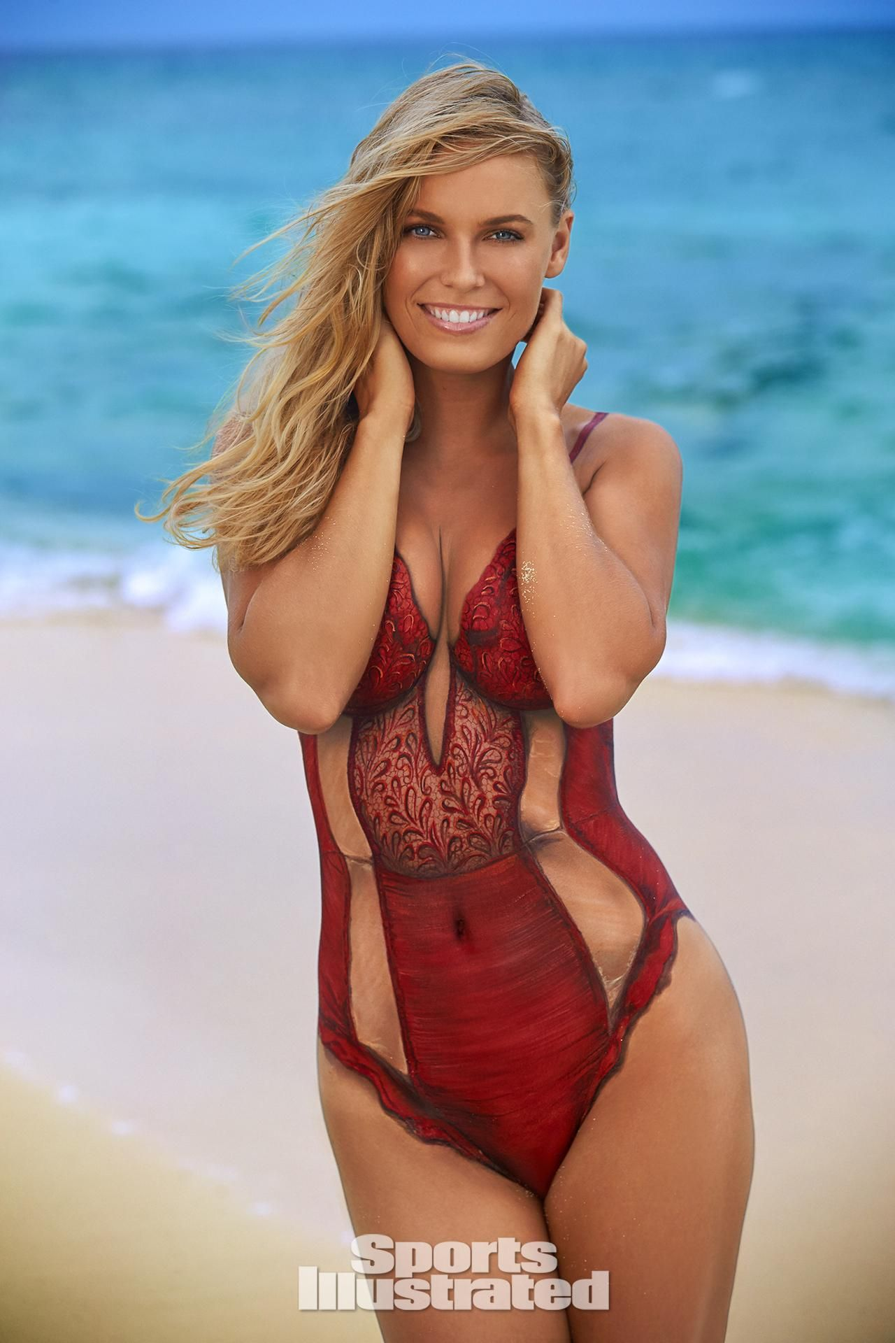 d519c904083f4 Caroline Wozniacki Swimsuit Body Paint Photos