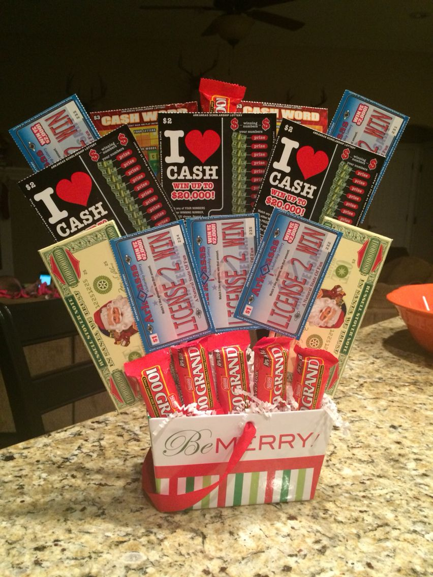 Lottery ticket christmas gift bouquet.