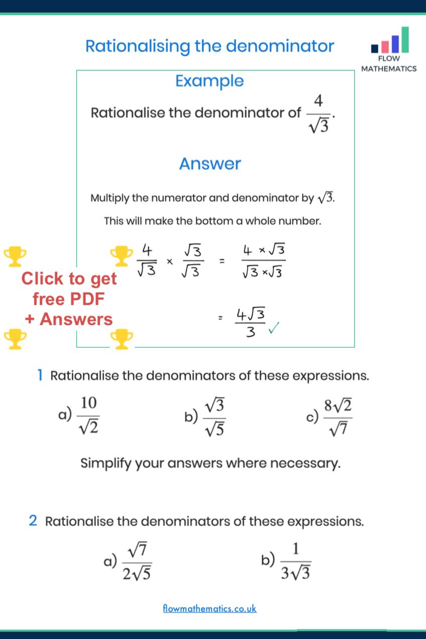 Rationalising The Denominator Worksheet Studying Math Math Notes Mathematics