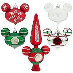 disney mickey mouse happy holidays glass christmas ornament tree topper set - Glass Christmas Tree Topper