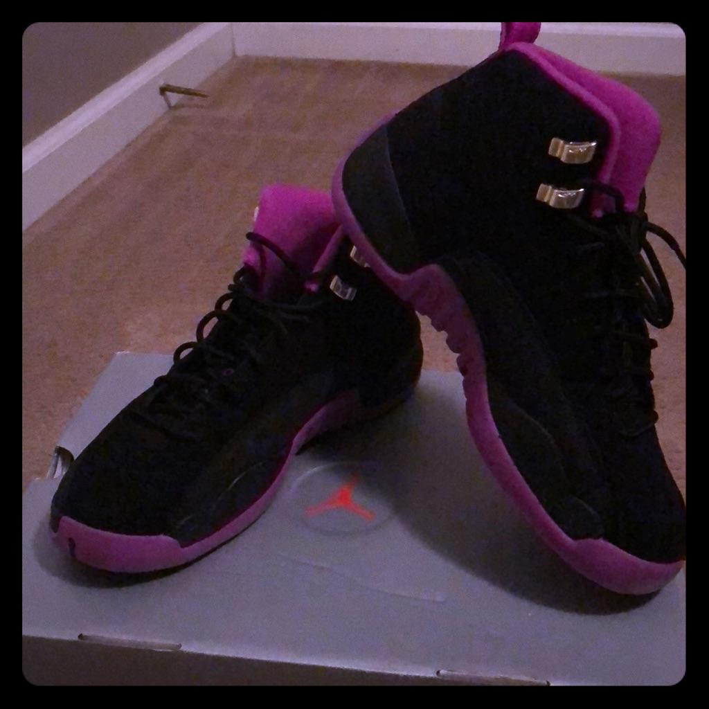 Jordan 12's Purple and Black suede